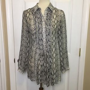 DONCASTER Snake Print Smocked Tunic Blouse Top